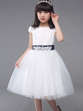 Ericdress Mesh Short Sleeve Pleated Girls Dress