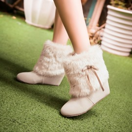 Ericdress Stweet Bowknot Round Toe Wedge Snow Boots
