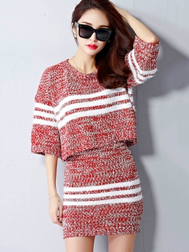 Ericdress Sweet Stripe Knitwear Suit
