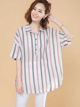 Ericdress Loose Stripped Painted Blouse
