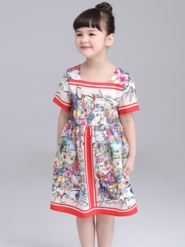 Ericdress Floral Short Sleeve Square Collar Retro Dress for Girls