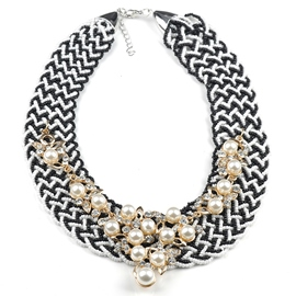 Ericdress Black & White Beaded Necklace