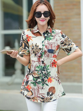 Ericdress Slim Floral Single-Breasted Printed Blouse