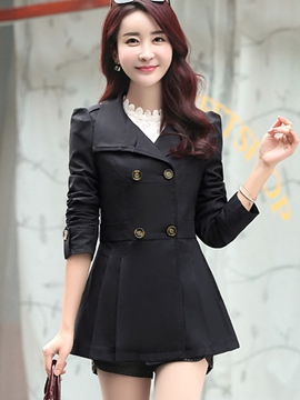 Ericdress Double-Breasted Solid Color Slim Trench Coat