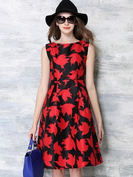 Ericdress Summer Vintage Sleeveless Print Casual Dress