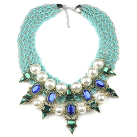 Ericdress Pearl Inlaid Green Beaded Necklace
