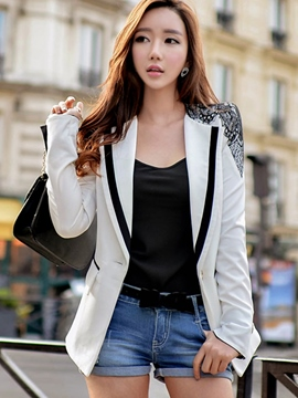 Ericdress Color Block Lace Patchwork Blazer
