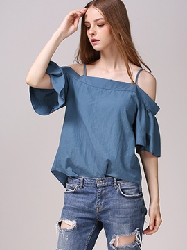 Ericdress Falbala Sleeve Cold Shoulder Blouse