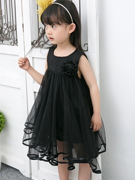 Ericdress 3D Flower Plain Mesh Girls Dress