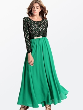 Ericdress Eruopean Lace Patchwork Long Sleeve Maxi Dress