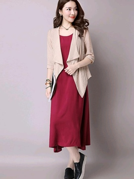 Ericdress Simple Sleeveless Dress Suit