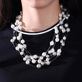 Ericdress Multilayer Imitation Pearl Necklace