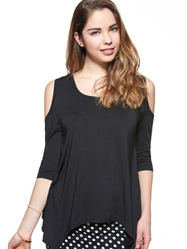 Ericdress Plain Slim Off-Shoulder T-Shirt