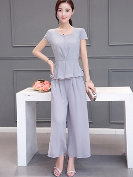 Ericdress Sweet Pleated Blouse Suit