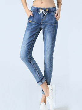 Ericdress Lace-Up Casual Jeans