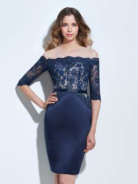 Ericdress Scheide Off-the-Shoulder Hälfte Ärmel Applikationen Lace Cocktail-Kleid