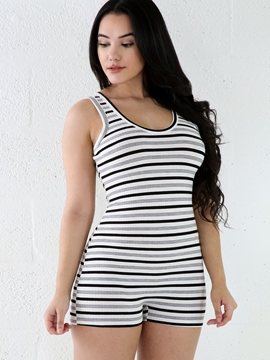 Ericdress Simple Sleeveless Stripe Rompers
