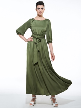 Ericdress Soild Color Round Neck Lantern Sleeve Maxi Dress