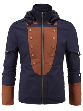 Ericdress Patchwork Zip Hood Casual Men's Jacket