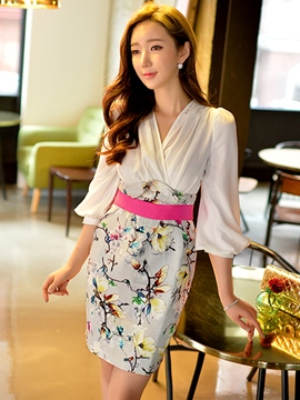 Ericdress Print Patchwork Lantern Sleeve Sheath Dress