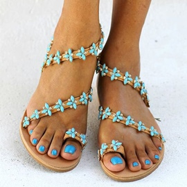 Ericdress Fresh Ethnic Rhinestone Flat Sandals