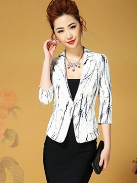 Ericdress Slim One-Button Painted Blazer