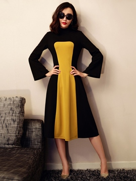Ericdress Color Block A-Line Flare Sleeve Casual Dress