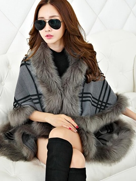 Ericdress Plaid Faux Fur Collar Patchwork Cape