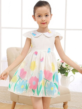 Ericdress Print Peter Pan Collar Girls Dress