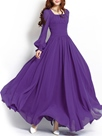 Ericdress solide couleur lanterne Sqaure cou manches robe Maxi