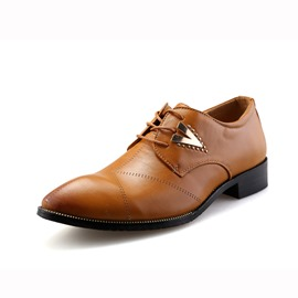 Ericdress Pointed Toe Square Heel Lace-Up Front Men's Oxfords