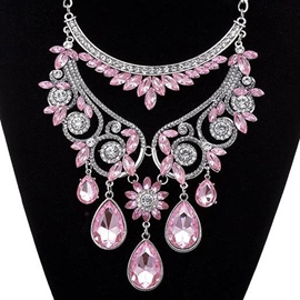 Ericdress Water Drop Shaped Crystal Glass Necklace