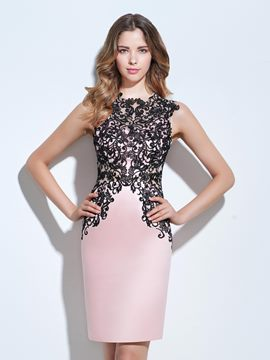 Ericdress Jewel Sheath Appliques Knee-Length Cocktail Dress