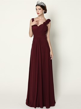 Ericdress A-Line Straps Pleats Long Evening Dress