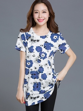 Ericdress Slim Printed Plus Size T-Shirt
