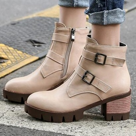 Ericdress Round Toe Side Zipper Ankle Boots