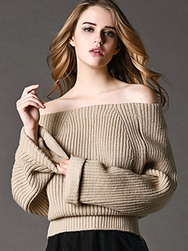 Ericdress Slash Neck Loose Knitwear