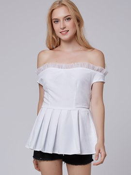 Ericdress White Slash Neck Peplum Blouse