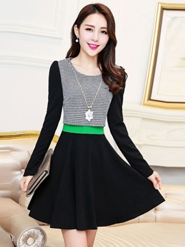 Ericdress Houndstooth Patchwork Long Sleeve Casual Dress