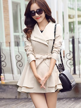 Ericdress Solid Color Lace-Up Slim A-Line Trench Coat