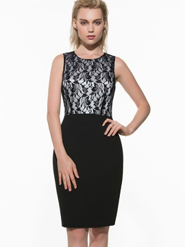 Ericdress Black Medium Waist Lace Patchwork Sheath Dress