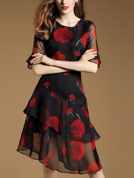 Ericdress Flower Print Double-Layer Half Sleeve Casual Dress