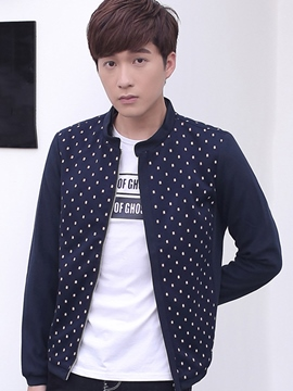 Ericdress Polka Dots Casual Zip Men's Jacket