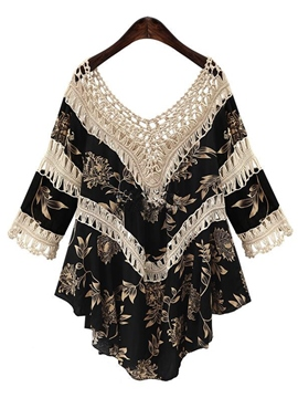 Ericdress Floral Printed Hollow Patchwork Blouse