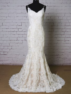 Ericdress Charming Spaghetti Straps Mermaid Lace Wedding Dress