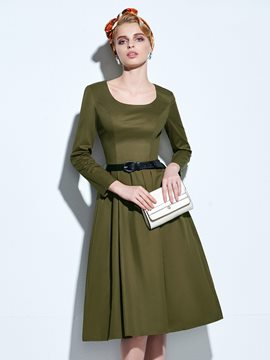Ericdress Vintage Solid Color Round Neck Casual Dress
