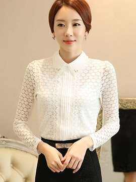 Ericdress White Long Sleeve Slim Blouse