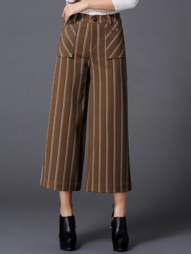 Ericdress Straight High-Waist Stripe Pants