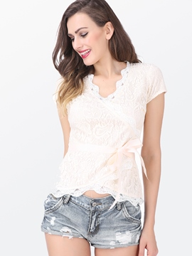 Ericdress Lace-Up V-Neck Lace Blouse