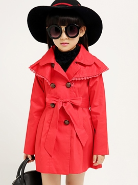 Ericdress Solid Color Girls Trench Coat